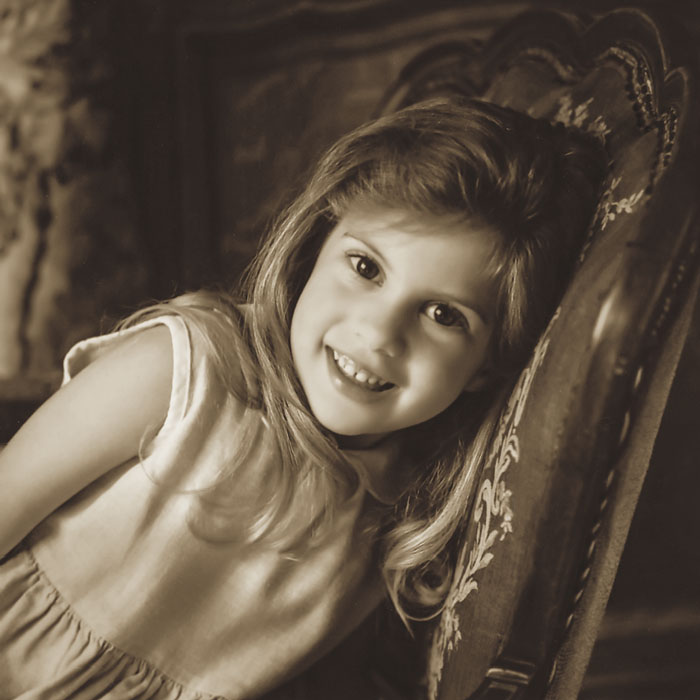 small child portrait converted to sepia tone