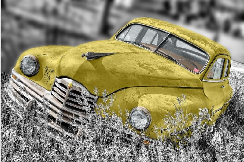 old yellow car