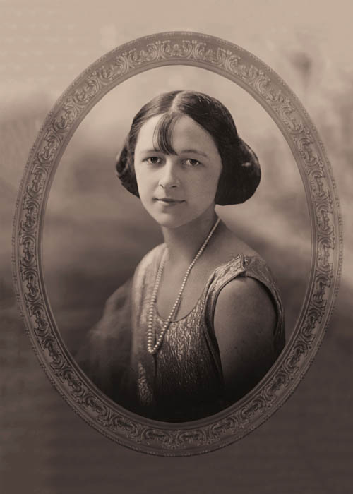 classic oval portrait of female in sepia tone