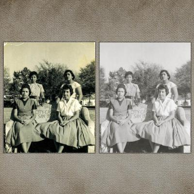 discolored and damaged photo repaired