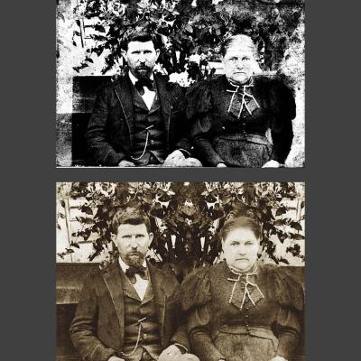 damaged 1900s portrait of couple and photo restoration result