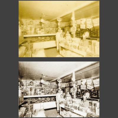 photo restoration of a picture of old 4th ward grocery store in Houston
