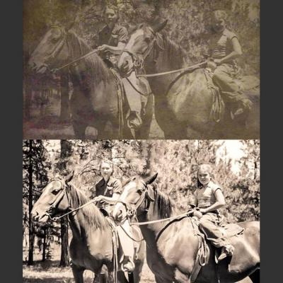 photo restoration example - mother and daughter riding horseback