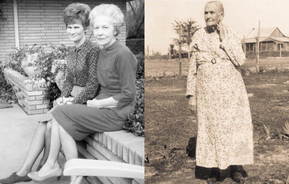 two ladies sitting on a planter in 1968 - image shown is after photo restoration