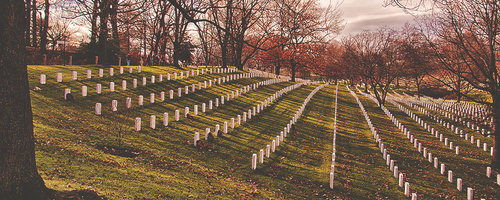 military soldier headstones in large field